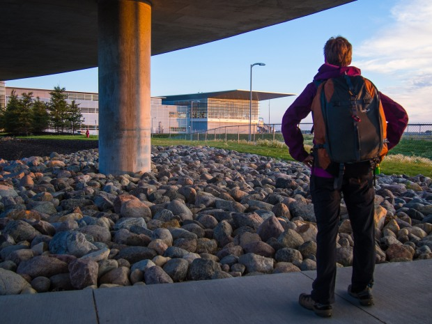 Walking to YWG on September 1, 2014 to catch our flight to Prague.