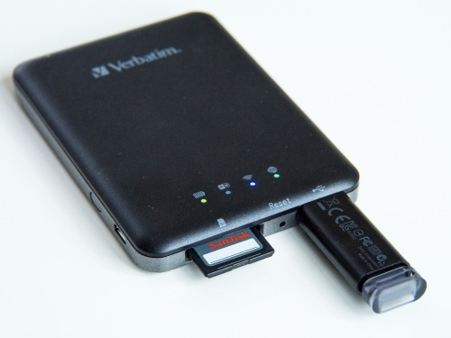 The Verbatim MediaShare Wireless with USB flash drive and partially inserted SD card.