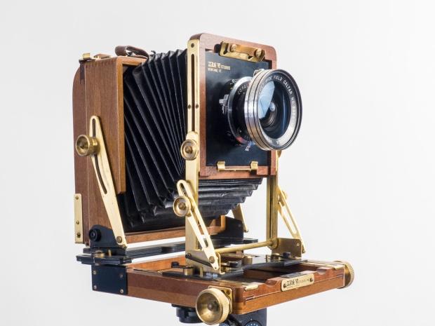"Wista 4"" x 5"" Field Camera, maximum vertical shift, 90mm Caltar lens (equivalent to a 28mm lens on a 35mm film camera)"