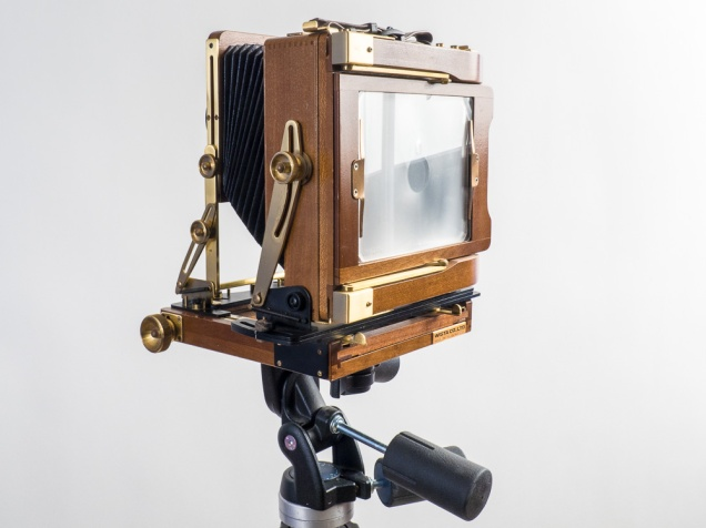 """Wista 4"""" x 5"""" Field Camera, rear film holder with fresnel lens focussing screen. The fresnel screen allows for a brighter image than the ground glass screen on the Cambo."""