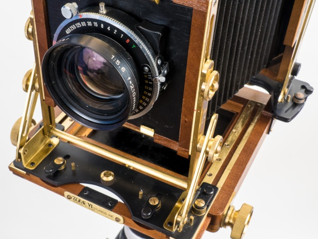 "Wista 4"" x 5"" Field Camera, detail of the lens board and its brass hardware."