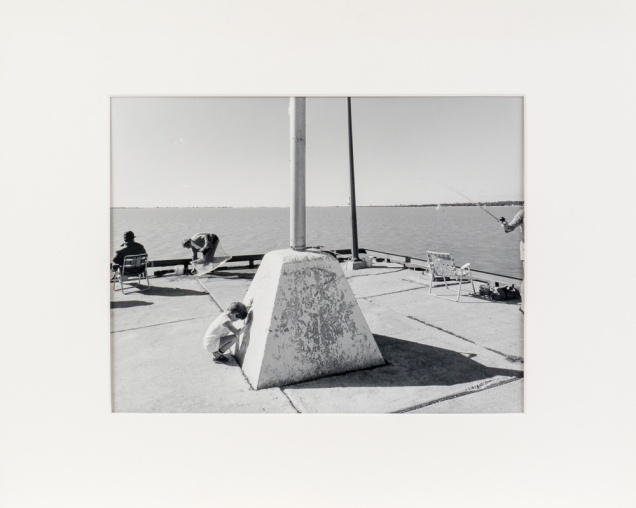 """Gimli Dock Triptych, Panel Two, from the Interlake series (original 11"""" x 14"""" silver print on Oriental Seagull Paper), 1984"""
