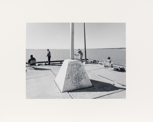 """Gimli Dock Triptych, Panel One, from the Interlake series (original 11"""" x 14"""" silver print on Oriental Seagull Paper), 1984"""