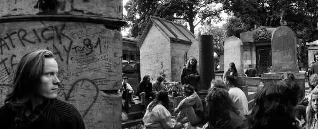 "Jim Morrison's Grave, Père Lachaise Cemetery, Paris (1991). 7"" x 18"" original print on Oriental Seagull paper. Due to fogging, this Horizont negative was unprintable until 2001, when it could digitally scanned and the fogging repaired in Photoshop (using the clone tool)."