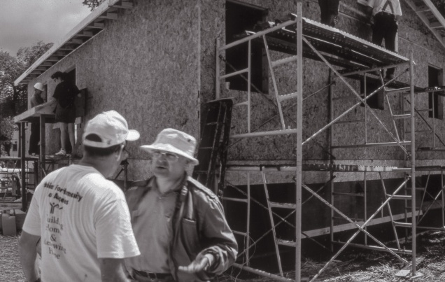 Detail. Monday, July 19. The wall sheathing is on. (from the series Building Homes)
