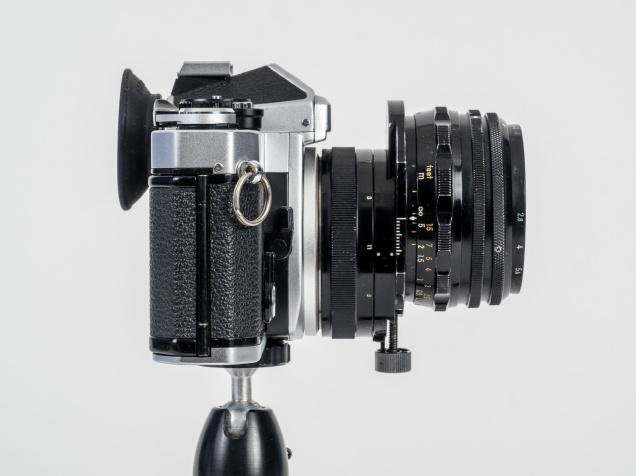 Nikon FE with 35mm f/2.8 PC-Nikkor lens showing the maximum vertical shift possible with this perspective control lens.
