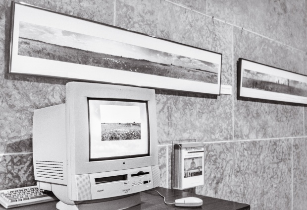 Installation view, Grasslands and Silver, Winnipeg Art Gallery, 1997. On the walls are prints from the Grasslands series. On the computer is the Grasslands CD-ROM.