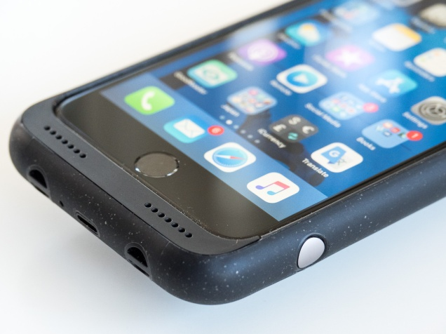 Business end of the Photo Battery Case showing: the silver shutter release, speaker ports, loops for wrist and neck straps, lightning connector for charging and data transfer.