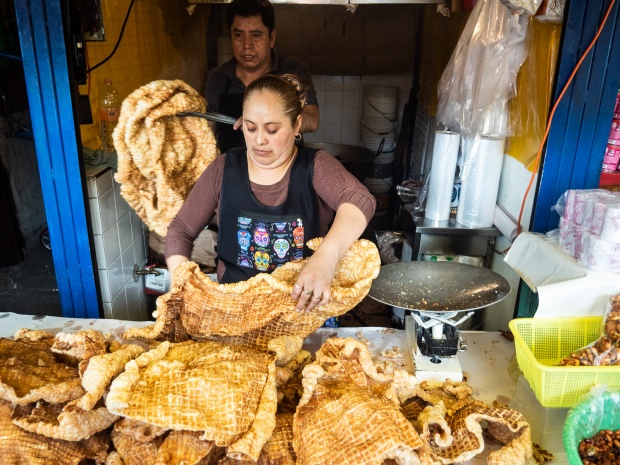 Fresh chicharrones (fried pork rind)