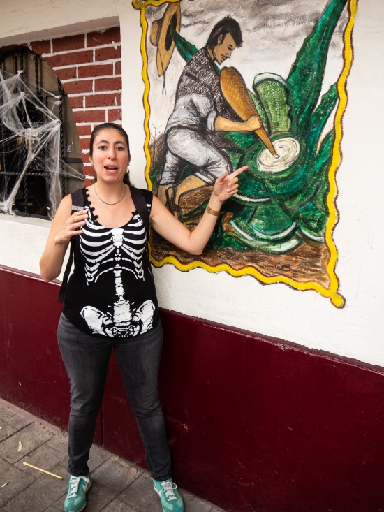 Our guide, Ariane Ruiz, outside a pulqueria.