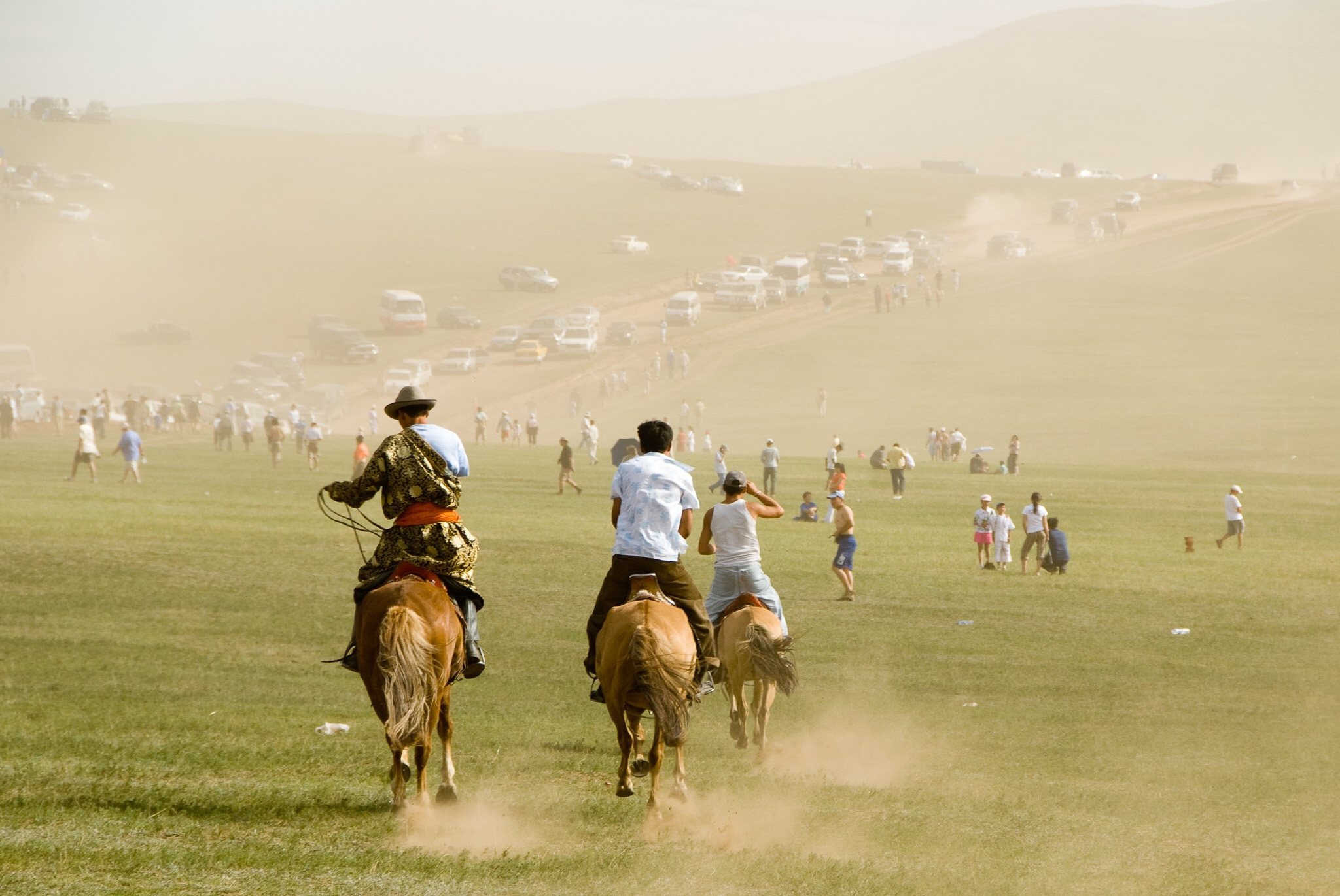 Naadam Festival, Ulaan Baatar, Mongolia, 2007. Naadam celebrates the three manly sports of nomadic Mongolia: wrestling, horse racing and archery.