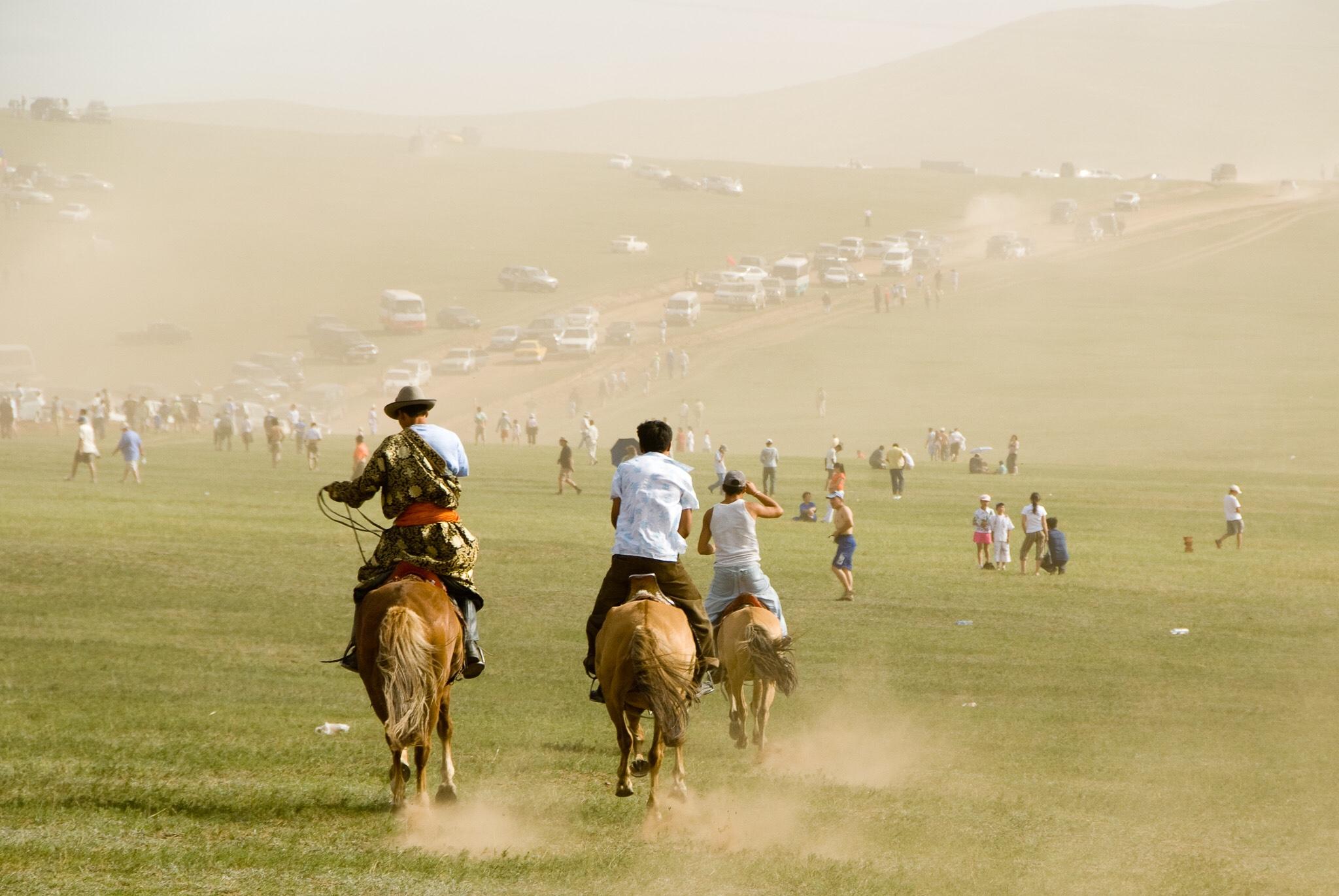 Naadam Festival, Ulaan Baatar, Mongolia, 2007. Naadam celebrates the three manly sports of nomadic Mongolia: wrestling, horse racing and archery.