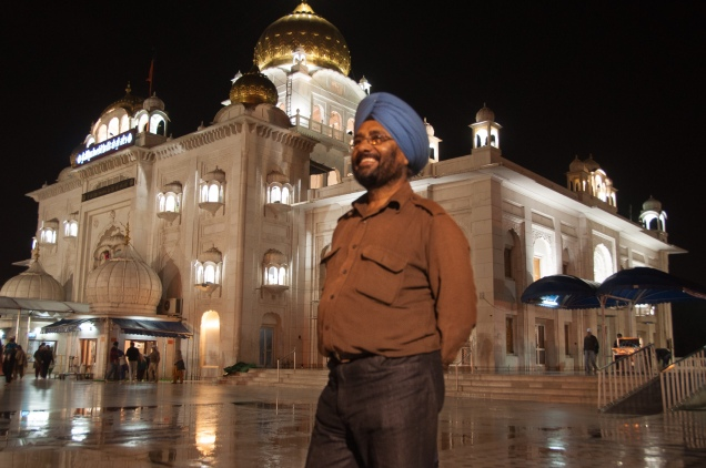 Bhaji, our good friend and volunteer guide to all things Sikh, in front of the Gurudwara Bangla Sahib, New Delhi, India, 2011