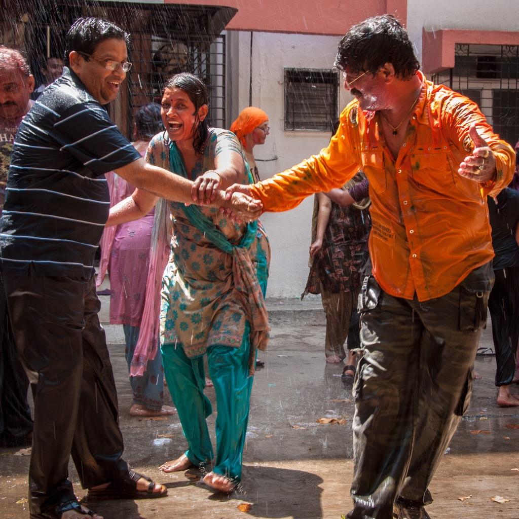 Celebrating Holi, Mumbai, India, 2011