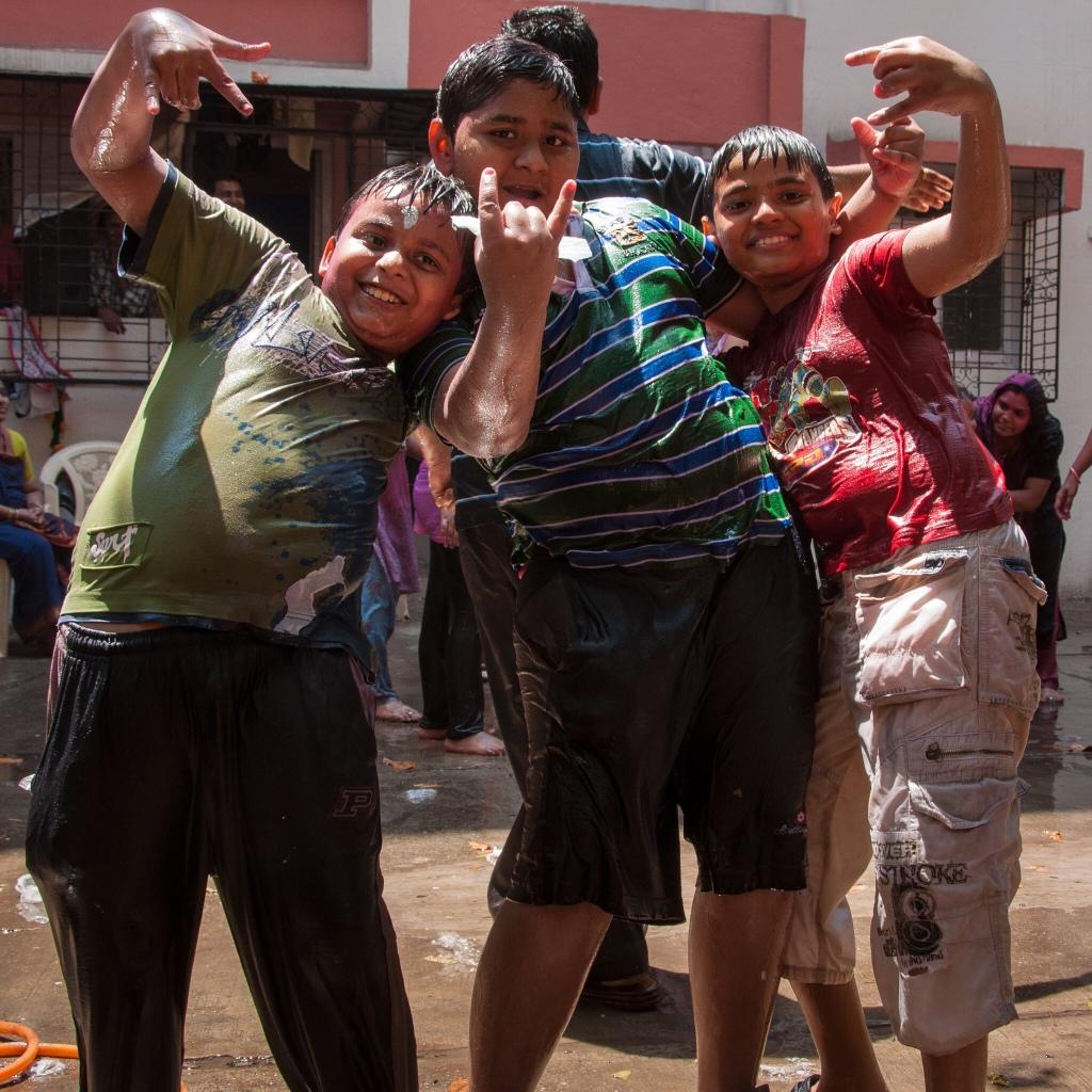 Celebrating Holi, Mumbai, 2011